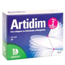 Artidim Dimefar es un complemento alimenticio a base de Colágeno hidrolizado y Manganeso.