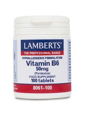 Vitamina B6 Lamberts es un complemento alimenticio a base de Vitamina B6 (Piridoxina).