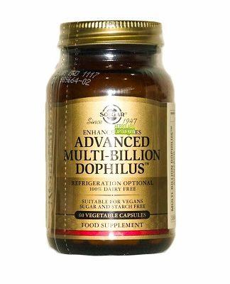 Advanced Multi-Billion Dophilus Solgar es un complemento alimenticio fuente de L. acidophilus, B.lactis, L.paracasei y L.rhamnosus GG, microorganismos benificiosos que residen en el tracto digestivo.
