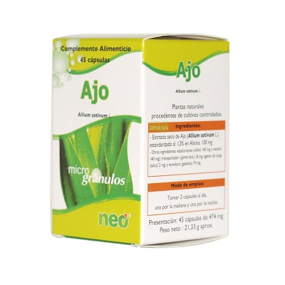 Ajo Neo es un complemento alimenticio en microgránulos a base de extracto seco de ajo (allium sativum L.).