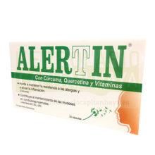 ALERTIN es un complemento alimenticio a base de cúrcuma y Vitaminas que ayuda a mantener la resistencia a las alergias y a aliviar la inflamación.