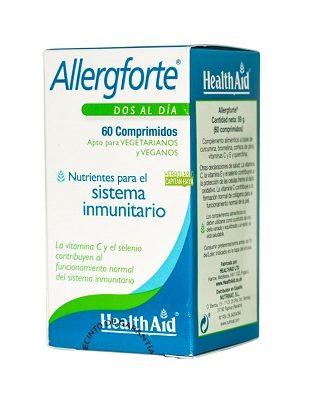 Allergforte Health Aid es un complemento alimenticio a base de cúrcuma, bromelina, corteza de pino y Vitaminas C y E y quercitina.