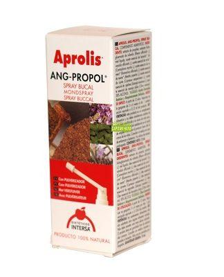 Aprolis ANGI-PROPOL Intersa es un complemento alimenticio en spray a base de extractos de propóleo, ruibarbo y aceites esenciales de plantas.