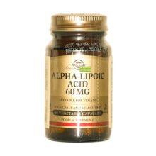 ACIDO ALFA LIPOICO SOLGAR 60MG Acido Alfa Lipoico Solgar 60 mg es un complemento alimenticio base de Acido Alfa Lipoico que actúa como desintoxicante hepático y antioxidante, interviene en el metabolismo de la glucosa, reduce los niveles de colesterol y exceso de hierro, etc. Apto para veganos.