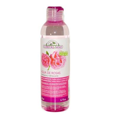 Agua de Rosas Corpore Sano tonifica y refresca con agradable esencia de rosa.