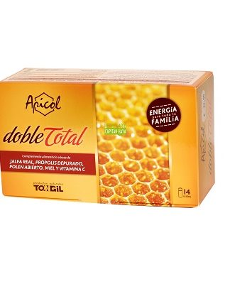 APICOL DOBLE TOTAL TONGILApicol Doble Total Tongil es un complemento alimenticio a base de Jalea Real, Própolis Depurado, Polen Abierto, Miel y vitamina C.