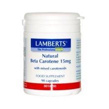 Beta Caroteno Natural Lamberts es un complemeto alimenticio a base de una mezcla de carotenoides derivados del alga Dunaliella Salina.
