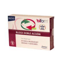 Block doble accion Biform Dietisa es un complemento alimenticio a base de nopal, chitosán, extracto de judía, Cromo y Vitamina C.