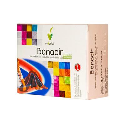 Bonacir Novadiet es un complemento alimenticio a base de estractos de Rusco, Grosello Negro, Ginkgo Biloba, Castaño de Indias, Rutina con Vitamina C.