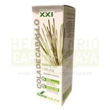 EXTRACTO COLA DE CABALLO SORIA NATURAL es un complemento alimenticio a base de extracto natural de parte aérea de Cola de Caballo ( Equisetum arvense L.) en glicerina vegetal que es diurético, remineralizante, depurativo.