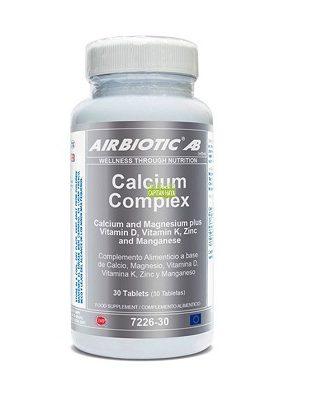 Calcium Complex Airbiotic es un complemento alimenticio a base de Calcio, Magnesio, Vitamina D, Vitamina K, Zinc y Manganeso.