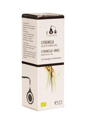 Citronella Aceite Esencial Bio Terpenic Evo es un aceite esencial que se puede usar como repelente de insectos, antiinflamatorio, desodorante, antifúngico, espasmolítico.