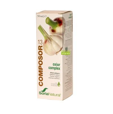 Composor 13 Oxiur Complex Soria Natural es un complemento alimenticio a base Extractos de Ajo, Manzanilla Amarga, Tomillo y artemisa que ayuda a eliminar parásitos internos del organismo.