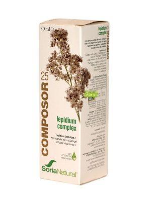 Composor 25 Lepidium Complex Soria Natural es un complemento alimenticio a base de Extractos de Rompepiedras, Gayuba y Vara de Oro.