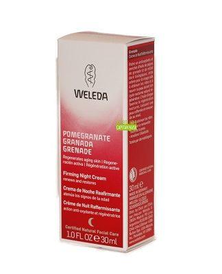 Crema Reafirmante de noche de Granada Weleda nutrientes procedentes del aceite de germen de trigo, esta crema apoya el proceso natural de regeneración nocturna, atenuando arrugas y reafirmando la piel.