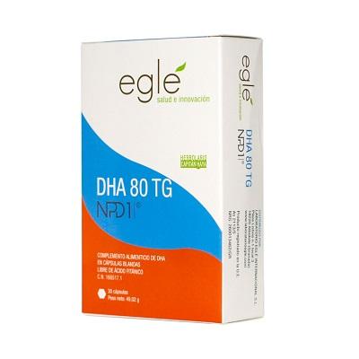 DHA 80 TG NPD1 EGLE 30 CAPSULASDHA 80 TG NPD1 EGLE es un complemento alimenticio de DHA en cápsulas blandas libre de ácido fitánico.