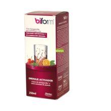 Drenaje Activador Biform Dietisa es un complemento alimenticio a base de extractos de plantas zarzaparilla,cola de caballo,fucus,ortiga,anis verde,alcachofa,boldo y diente de león.
