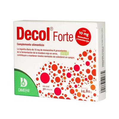 Decol Forte Dimefar es un complemento alimenticio a base de levadura roja de arroz, alcachofa y coenzima Q10.