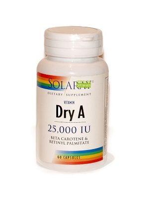 Dry A Solaray es un complemento alimenticio a base de Vitamina A.