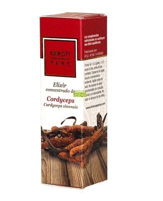 Elixir Cordyceps Karoti Take Hiranyagarba es un complemento alimenticio a base de extracto espagírico de Cordyceps Sinensis y Maral, Rúcula y Aceites Esenciales de Aguacate, Albahaca y Pimienta Jamaicana.