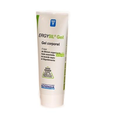 ERGYSIL GEL NUTERGIACOSMETICA NATURALERGYSIL gel Nutergia es un preparado a base de silicio orgánico, que favorece la síntesis de elastina y del colágeno, principales constituyentes de los vasos. Además contiene oligoelementos antioxidantes (zinc, cobre y manganeso) ,Aceite esencial de Lavanda Aspic rico en linalol y alcanfor.