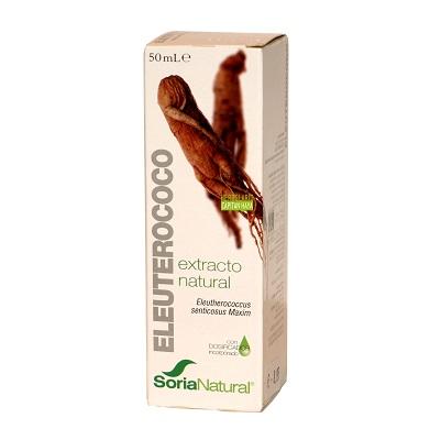 Extracto Eleuterococo Soria Natural es un complemento alimenticio a base de extracto natural de raíz de Eleuterococo ( Eleutherococcus senticosus Maxim.) en glicerina vegetal.