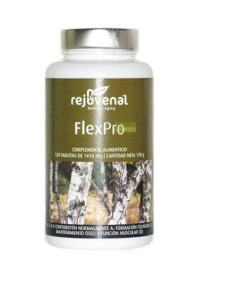 Flexpro Rejuvenal es un complemento alimenticio a base de Metilsulfonilmetano,D-Glucosamina,Cartilago de raya,Condroitin y extractos vegetales.