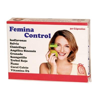 Femina Control Dis es un complemento alimenticio a base de Isoflavonas de soja y extractos de Salvia, Cimífuga,Angélica Sinensis,Granada,Sauzgatillo, Trébol Rojo, Ñame, Coral Calcio y Vitamina D3.