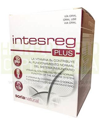 INTESREG PLUS SORIA NATURALcon edulcorante y Vitamina B6, que contribuye al funcionamiento normal del sistema inmunitario.