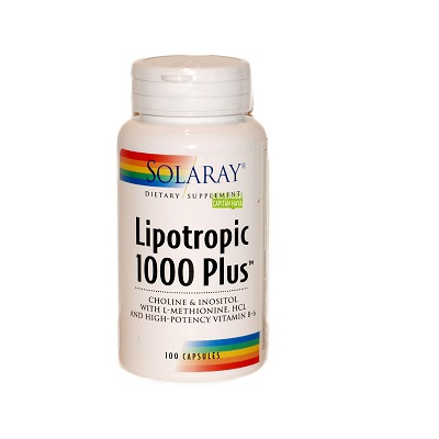 Lipotropic 1000 Plus Solaray es un complemento alimenticio a base de Aloe Vera,Colina bitartrato, Inositol,L-metionina,Vitamina B6 y Betaína.