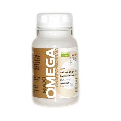 Maxi Omega Onagra Borraja Sotya es un complemento alimenticio a base de aceite de Onagra, aceite de Borraja, GLA y Vitamina E.