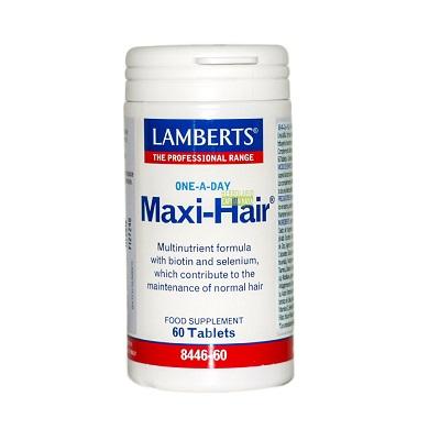 Maxi Hair Lamberts One-a-day es un complemento alimenticio fórmula multinutriente a base de Biotina y Selenio.