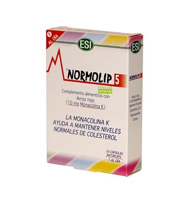 NORMOLIP 5 ESI-TREPADIETNORMOLIP 5 ESI-TREPADIET es un complemento alimenticio para el control del colesterol, a base de cáscara de arroz rojo (Monacolina K: 10mg.).