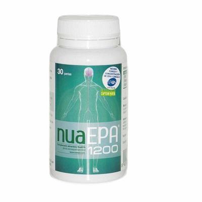 NuaEPA 1200 es un complemento alimenticio suministrado en perlas de gelatina blanda a base de ácido eicopentaenoico (EPA) como triglicérido.