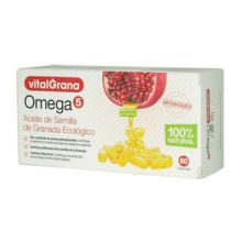 OMEGA 5 VITALGRANAOmega 5 Vitalgrana es un complemento alimenticio que aporta omega 5 extraído de la semilla de granada para contribuir a mantener los niveles normales de colesterol sanguíneo. Producto de origen vegetal y 100% ecológico.