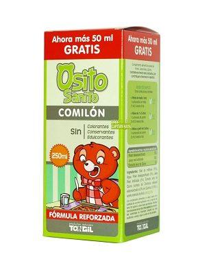 OSITO SANITO COMILON TONGIL es un complemento alimenticio a base de Polen, Jalea Real y Quina.