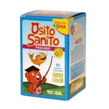 Osito Sanito Pescado Tongil es un complemento alimenticio que mejora la capacidad de concentración y memorización. Reduce los niveles de colesterol en sangre y evita el raquitismo. Sabor a limón.