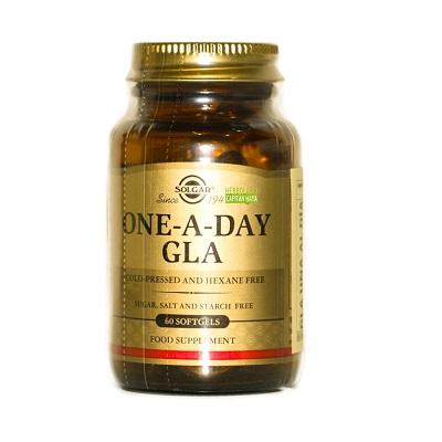One Day GLA Solgar es un complemento alimenticio a base de aceite de borraja que aporta un alto contenido de grasas poliinsaturadas (Omega 6-Ácido Gamma-linolénico GLA). Proveniendes del aceite de Borraja (Borago officinalis) , prensado en frío.
