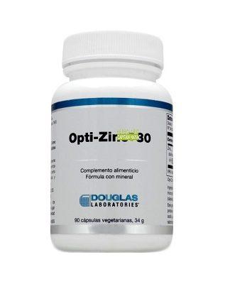 OptiZinc 30 Douglas es un suplemento de zinc monometionina, un compuesto orgánico patentado que proporciona zinc unido al aminoácido metionina, con el fin de aumentar la biodisponibilidad del zinc.