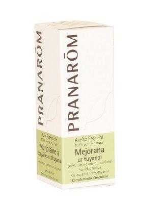 Aceite Esencial Mejorana Pranarom es un complemento alimenticio a base de Mejorana ( Origanum majorana), antibacteriano, potente antiviral, estimulante inmunitario, tónico y regenerador hepatocitario, activador sanguíneo calentador, neurotónico y armonizante nervioso, fungicida.
