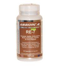 RE-7 Airbiotic es un complemento alimenticio a base de Cola de Caballo, Ortiga, Ortosifón, Abedul, Alcachofa, Taurina y Estigmas de Maíz.