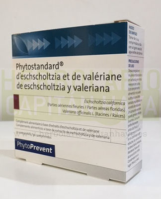 Phytostandard de Eschscholtzia y Valeriana es un complemento alimenticio a base del extracto de las partes aéreas floridas de la Eschscholtzia Californica y de las raíces de la Valeriana Officianalis.