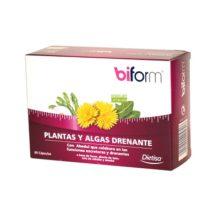 Plantas y Algas Biform Dietisa es un complemento alimenticio a base de Fucus, Diente de León, Cola de Caballo y Abedul.