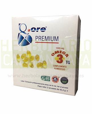 Q-ORE PREMIUMes un complemento alimenticio a base de ácidos Omega 3 en perlas de 707mg, desarrollado a partir de aceite de pescado y facilitando la ingesta por su presentación en perlas fáciles de tomar.