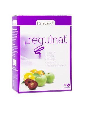 Regulnat Drasanvi es un complemento alimentico a base de fibra de Ciruela, naranja, Manzana, fermentos lácteos e Ispágula.