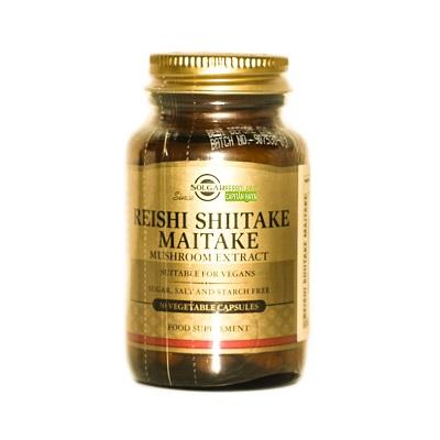 Reishi Shiitake Maitake Solgar es un complemento alimenticio a base de extractos de hongo Reishi, Shiitake y Maitake.