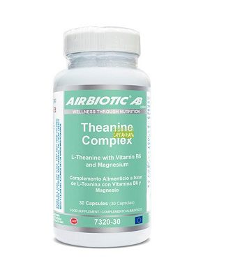 Theanine Complex  Airbiotic es un complemento alimenticio a base de L-Teanina, Vitamina B6 y Magnesio.
