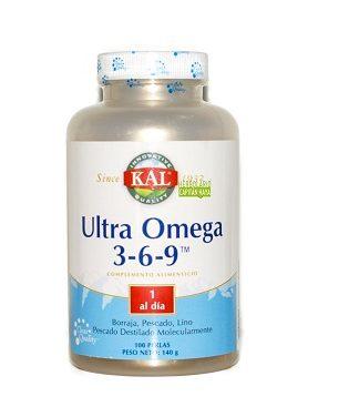 Ultra Omega 3-6-9 Kal es un complemento alimenticio a base de semilla de borraja, aceite de pescado, semilla de lino y Vitamina E.