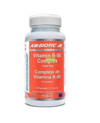 Vitamina B50 Complex Airbiotic es un complemento alimenticio a base deVitamina B.