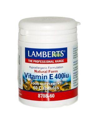 Vitamina E Lamberts 400ui en forma natural es un complemento alimenticio a base de Vitamina E